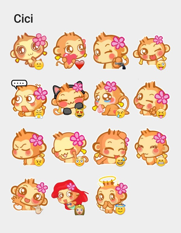 Cici-the-monkey-sticker-pack