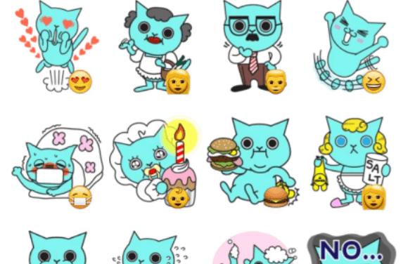 Blue cat sticker pack