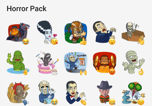 Sticker pack for telegram with Horror stickers