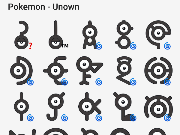 Pokemon Unown sticker pack for telegram