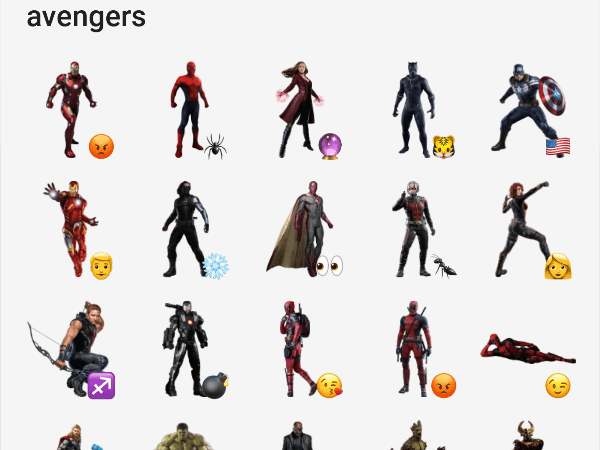 Telegram sticker pack Avengers