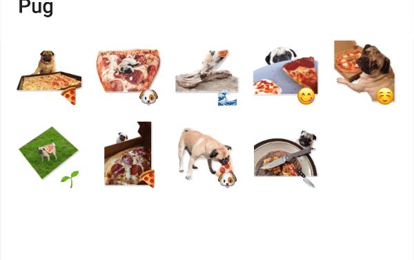 Pizza Pug sticker pack