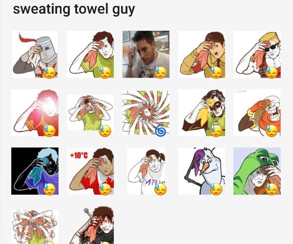 Sweating Towel Guy Sticker Pack Telegram Stickers Library