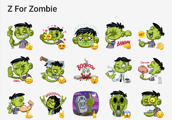 Zombie sticker pack for telegram
