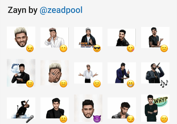 Zayn telegram stickers