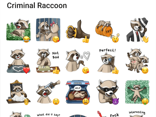 Criminal Raccoon Sticker Pack