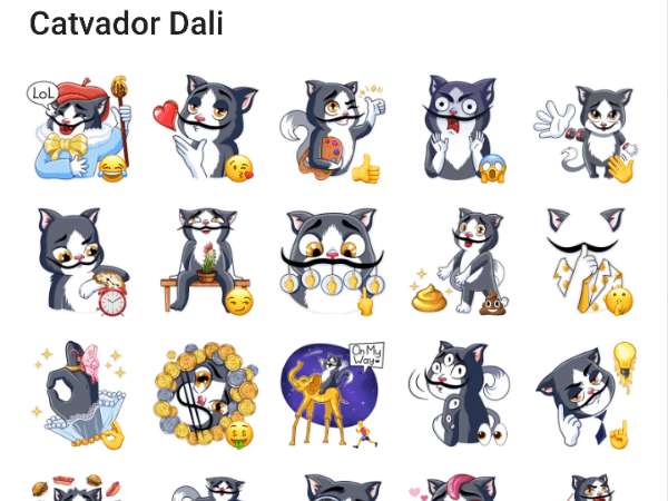 Catvador Dali sticker pack for telegram