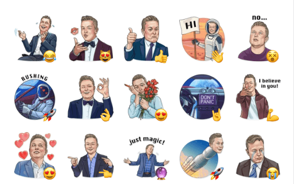 Starman Elon Musk sticker Pack