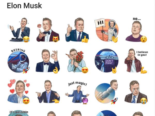 Elon Musk telergam stickers