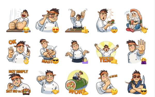 Sushi Chef Sticker Pack
