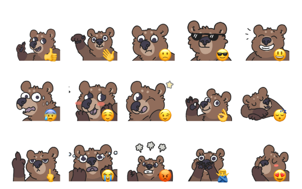 Animated Bears Sticker Pack
