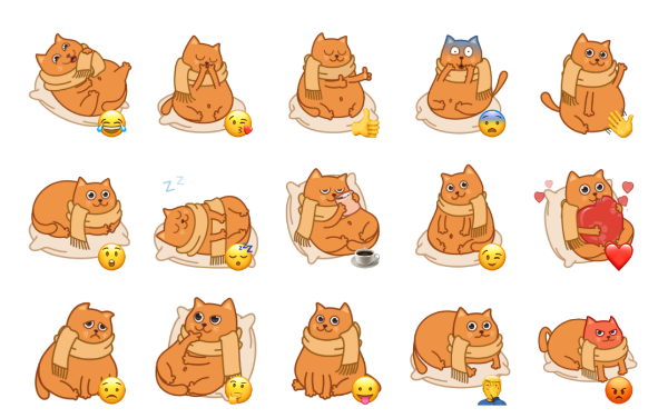 Bubo the Scarfcat Sticker Pack