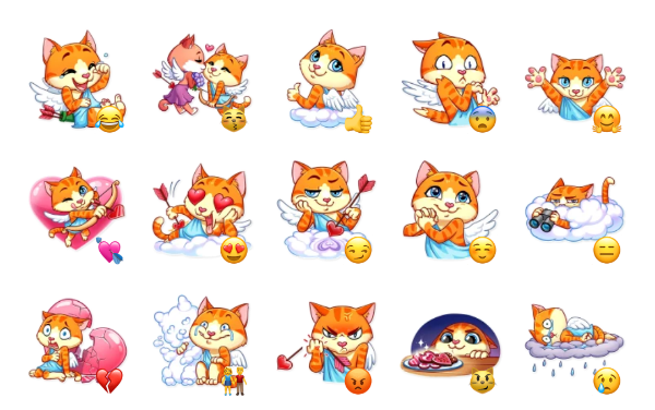 Cupid Cat Sticker Pack