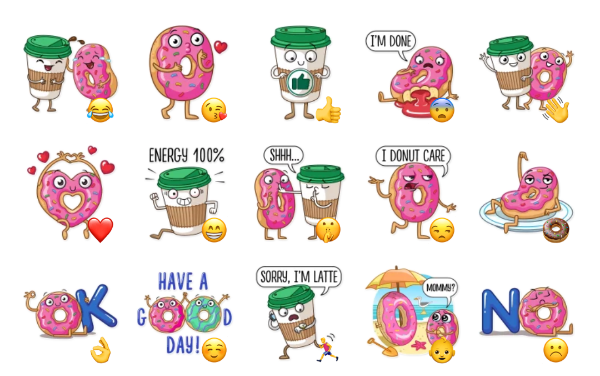 Donut and Coffee Sticker Pack