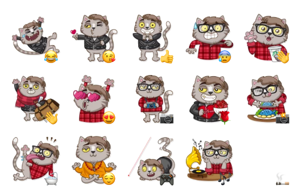 Vincent Whiskers Sticker Pack