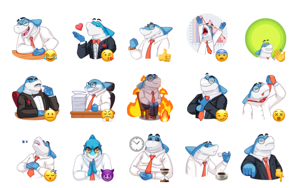 Shark Boss Sticker Pack